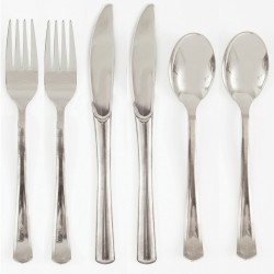 SZTUĆCE plastikowe widelce+noże+łyżki 6kpl SREBRNE LUX
