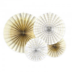 ROZETY dekoracyjne biało-złote ZESTAW 4szt
