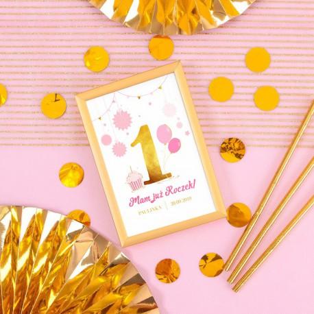TABLICZKA na stolik Roczek Różowo-Złota Jedynka (+złota metalowa ramka)