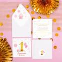 ZAPROSZENIE na Roczek Różowo-Złota Jedynka (+koperta z wnętrzem+naklejka)