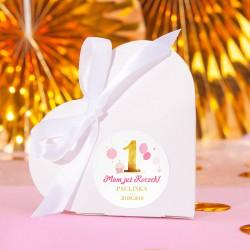 PUDEŁECZKA serca Złoto-Różowa Jedynka Roczek (+etykiety z imieniem+białe wstążki) 10szt