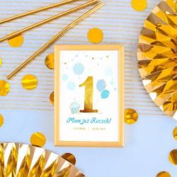 DEKORACJA stołu na Roczek Tabliczka Niebiesko-Złota Jedynka (+złota metalowa ramka)