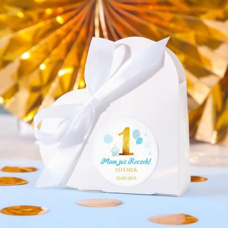 PUDEŁECZKA serca Niebiesko-Złota Jedynka Roczek (+etykiety z imieniem+białe wstążki) 10szt