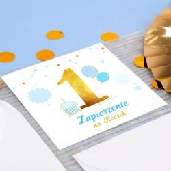 ZAPROSZENIE na Roczek Niebiesko-Złota Jedynka (+koperta z wnętrzem+naklejka)