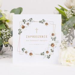 ZAPROSZENIA na Chrzest Białe Kwiaty 10szt (+koperty) OSTATNIA PACZKA