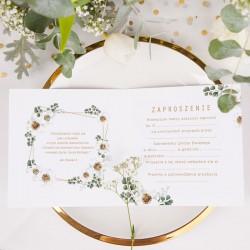 ZAPROSZENIA na Chrzest Białe Kwiaty 10szt (+koperty)