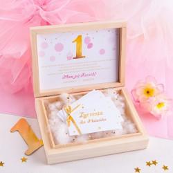 ŻYCZENIA dla Maluszka na Roczek w drewnianym pudełeczku Złoto-Różowa Jedynka