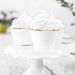 FOREMKI papilotki na muffinki białe ze złotym paskiem 6szt
