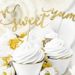 KARTECZKI do muffinek Sweet, Love, Yumm 6szt ZŁOTE