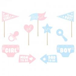 GADŻETY do zdjęć na Baby Shower BOY OR GIRL 11szt