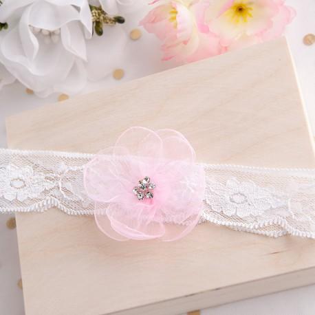 OPASKA na główkę na Chrzest Różowy kwiat z cyrkoniami (2)