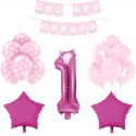 ZESTAW balonów na Roczek bukiet RÓŻOWY