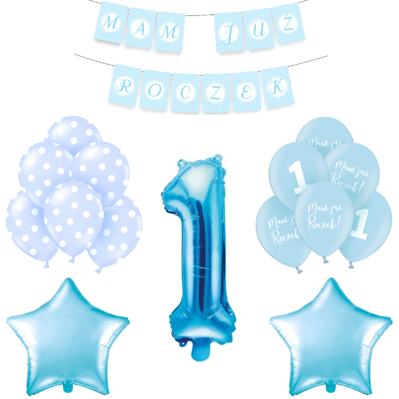 Bukiet z balonów na Roczek chłopca niebieski