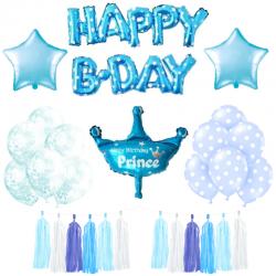 ZESTAW balonów HAPPY B-DAY Niebieski DLA CHŁOPCA