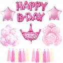 ZESTAW balonów urodzinowych Różowy DLA DZIEWCZYNKI KONIEC SERII