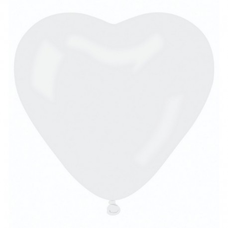 BALONY lateksowe serca 25cm 6szt BIAŁE