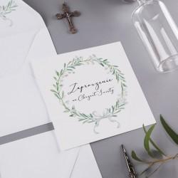 ZAPROSZENIE na Chrzest personalizowane Lily of the Valley (+koperta z wnętrzem+naklejka)