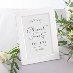 TABLICZKA na stolik na Chrzest Lily of the Valley (+ramka)