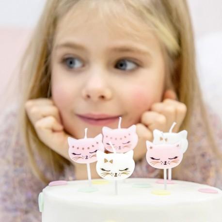 ŚWIECZKI urodzinowe na tort KOTKI 6szt