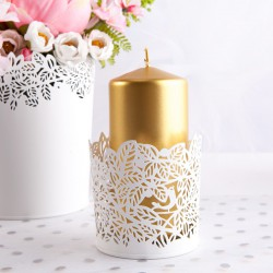 ŚWIECZNIK metalowy Ażurowe Kwiaty 8cm