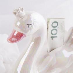 SKARBONKA na pieniążki ŁABĘDŹ Prezent dla dziecka BIAŁA