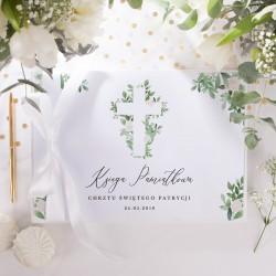 KSIĘGA Pamiątkowa Chrztu Świętego Delikatne Kwiaty Z IMIENIEM