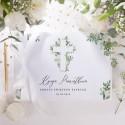 KSIĘGA Pamiątkowa Chrztu Świętego Delikatne Kwiaty Z IMIENIEM (+biała wstążka)