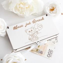 PREZENT na Roczek Pudełko drewniane na pieniądze Z MISIEM