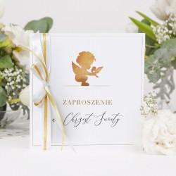 ZAPROSZENIA na Chrzest Złoty Anioł 10szt (+koperty+wstążki)