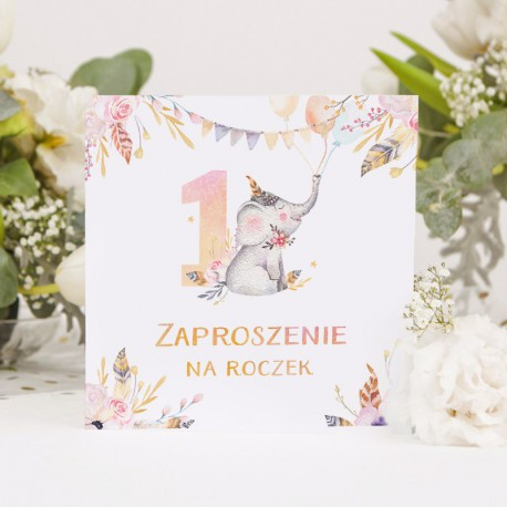 ZAPROSZENIE na Roczek Uroczy Słonik 10szt (+koperty)