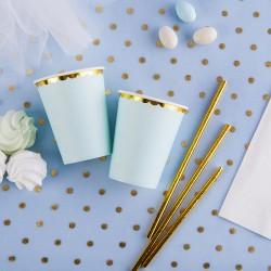 KUBECZKI papierowe jasnoniebieskie 6szt ZŁOTE BRZEGI