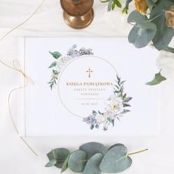 KSIĘGA Pamiątkowa Chrztu Świętego Kwiaty Vintage Z IMIENIEM (+złoty sznurek)
