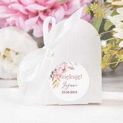PUDEŁECZKA SERCA Subtelny Róż (+etykiety z imieniem+białe wstążki) 10szt