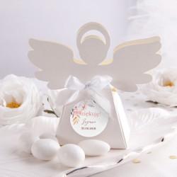 PUDEŁECZKA Aniołek na Chrzest Subtelny Róż 10szt (+etykiety z imieniem+białe wstążki)
