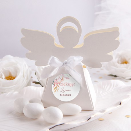 PUDEŁECZKA Aniołek Subtelny Róż 10szt (+etykiety z imieniem+białe wstążki)