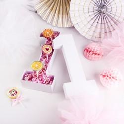 PUDEŁKO na prezent Cyferka 1 NA ROCZEK + różowy wypełniacz