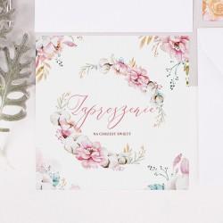 ZAPROSZENIE na Chrzest personalizowane Subtelny Róż (+koperta z wnętrzem+naklejka)