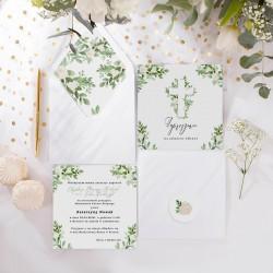 ZAPROSZENIE na Chrzest personalizowane Delikatne Kwiaty (+koperta z wnętrzem+naklejka)