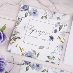 ZAPROSZENIA na Chrzest Blue Flowers 10szt (+koperty)