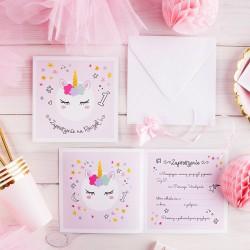 ZAPROSZENIA na Roczek Pastelowy Jednorożec Unicorn 10szt (+koperty)