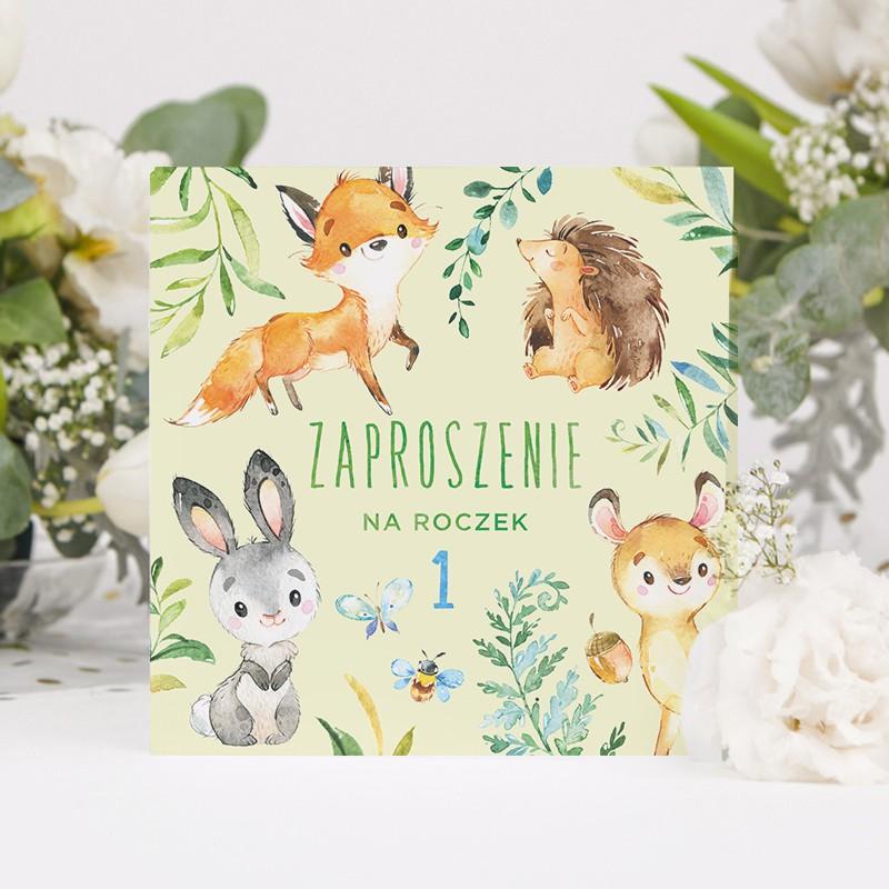 Zaproszenia na Roczek ze zwierzątkami w leśnym stylu
