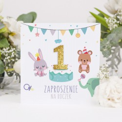 ZAPROSZENIA na Roczek Urodzinkowy Pociąg 10szt (+koperty+przylepce+brokatowe cyferki)