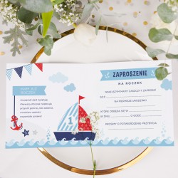 ZAPROSZENIA na Roczek Morskie Przygody 10szt (+koperty)