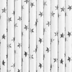 SŁOMKI papierowe białe SREBRNE GWIAZDKI 10szt