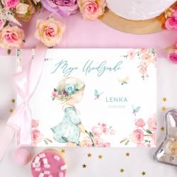 KSIĘGA Pamiątkowa na Urodziny Flower Girl Z IMIENIEM