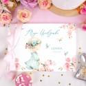KSIĘGA Pamiątkowa na Urodziny Flower Girl Z IMIENIEM (+jasnoróżowa wstążka)