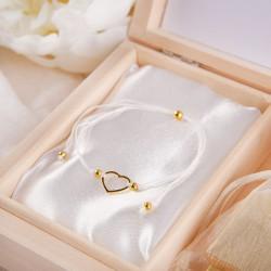 PREZENT dla Przyszłej Mamy w pudełku Niebieskie Kwiaty BRANSOLETKA POZŁACANE SREBRO z sercem BIAŁA