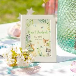 TABLICZKA na stolik na Roczek dziecka Leśne Zwierzątka (+ramka)