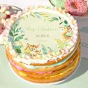OPŁATEK na tort personalizowany na Roczek Leśne Zwierzątka Ø20cm
