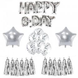 MEGA ZESTAW balonów urodzinowych SREBRNY